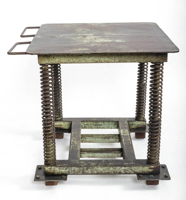 Green Patinated Steel Industrial Table For Sale 3