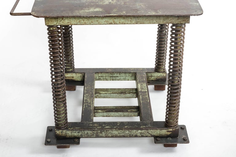 Green Patinated Steel Industrial Table For Sale 4
