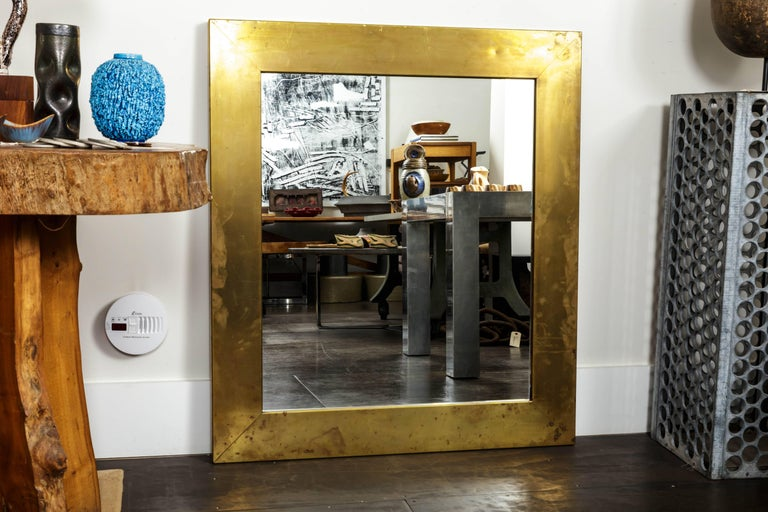 French Patinated Brass Mirror  For Sale