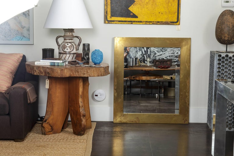 Patinated Brass Mirror  In Excellent Condition For Sale In East Hampton, NY