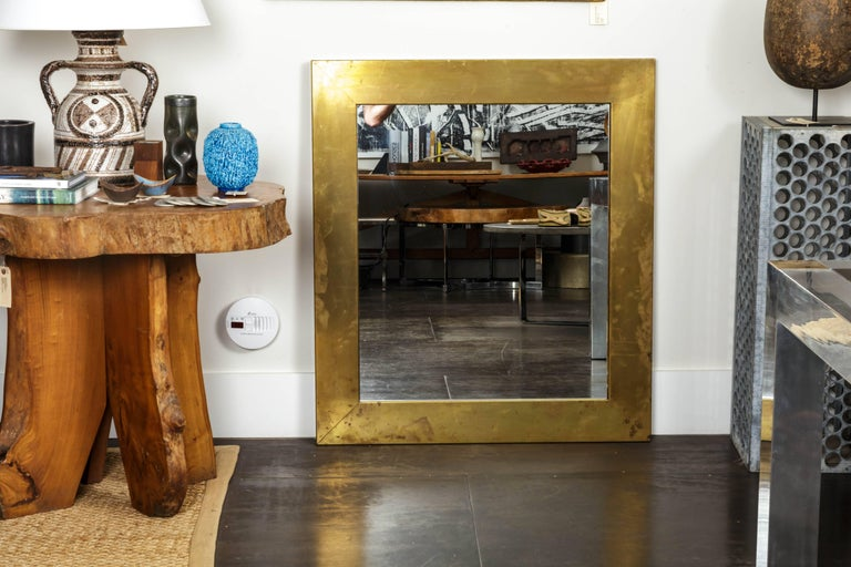 Late 20th Century Patinated Brass Mirror  For Sale