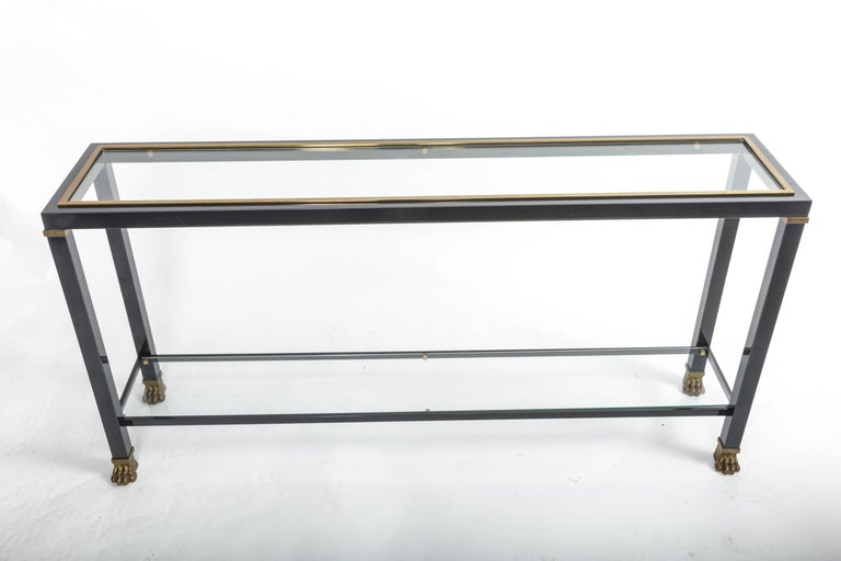 Two-Tiered Console with Patinated Metal and Glass Tops For Sale 1
