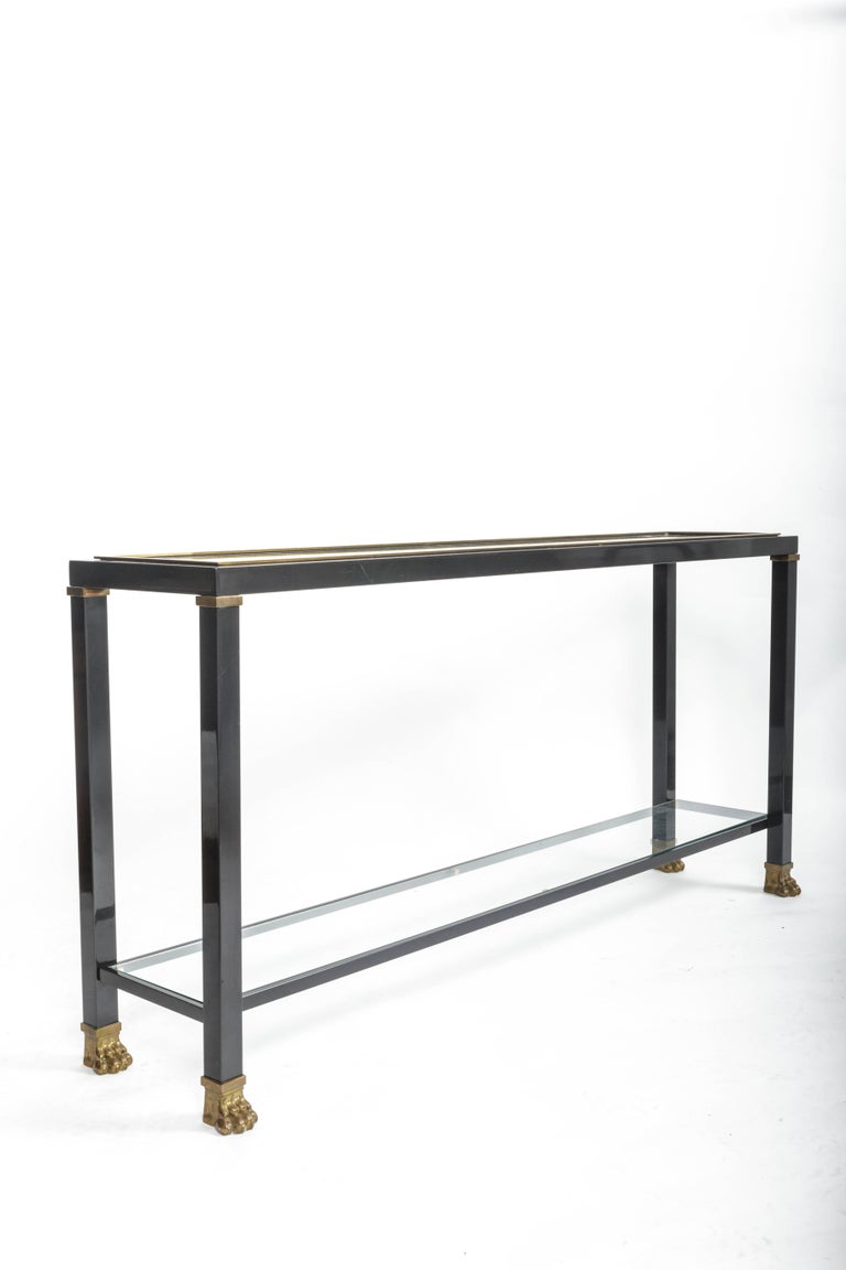 Two-Tiered Console with Patinated Metal and Glass Tops For Sale 3