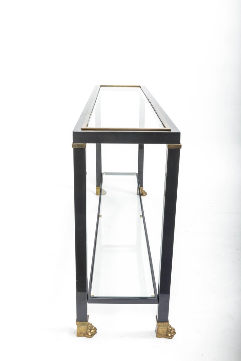 Two-Tiered Console with Patinated Metal and Glass Tops 10