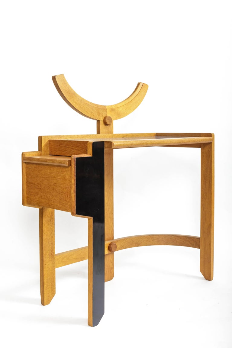 Oak Vanity Table by Guillerme et Chambron 5
