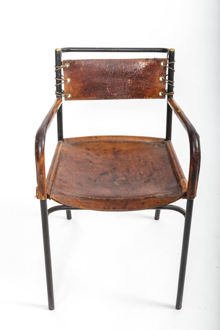 Pair of Leather and Metal Armchairs in the Style of Adnet 3