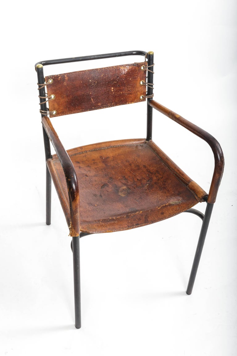 Pair of Leather and Metal Armchairs in the Style of Adnet 5