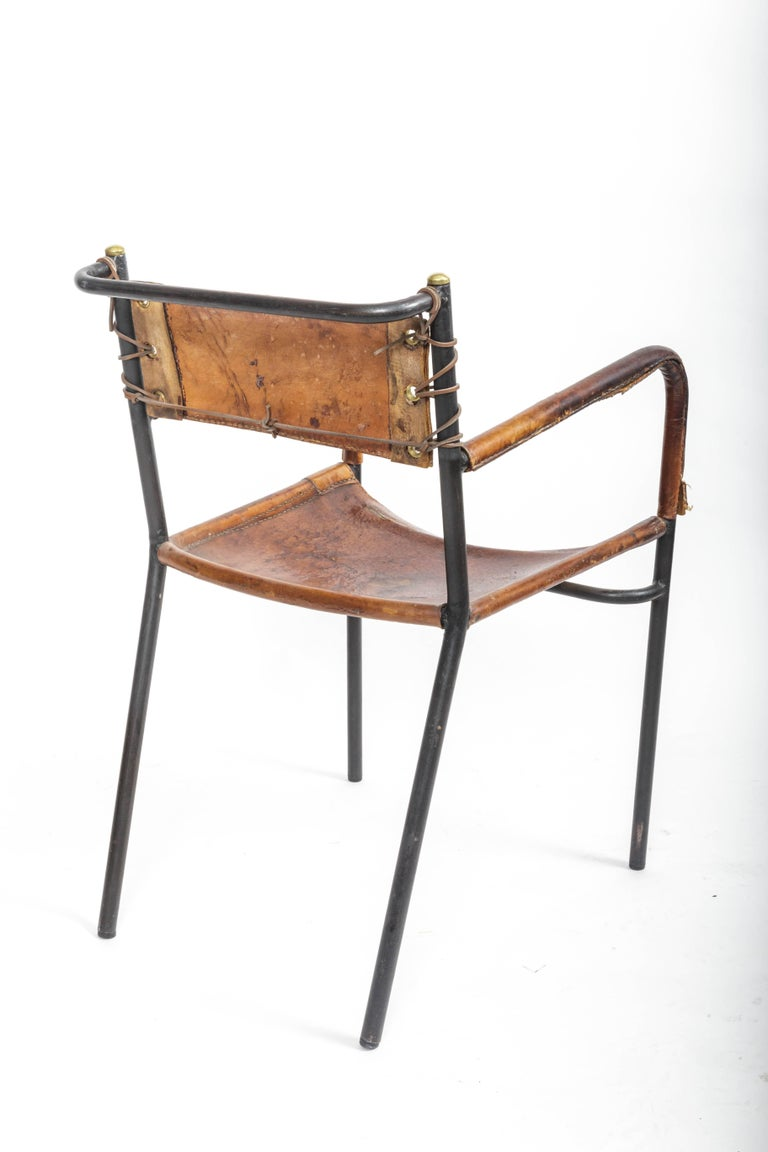 Pair of Leather and Metal Armchairs in the Style of Adnet 6