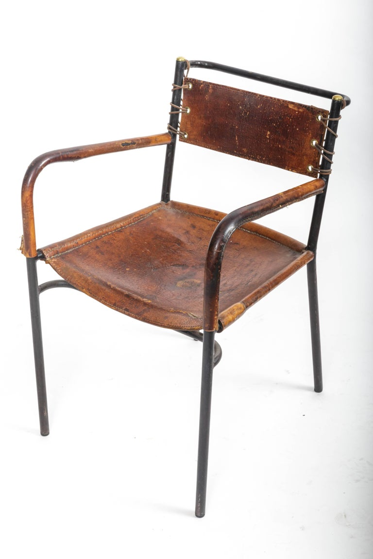 Pair of Leather and Metal Armchairs in the Style of Adnet 8