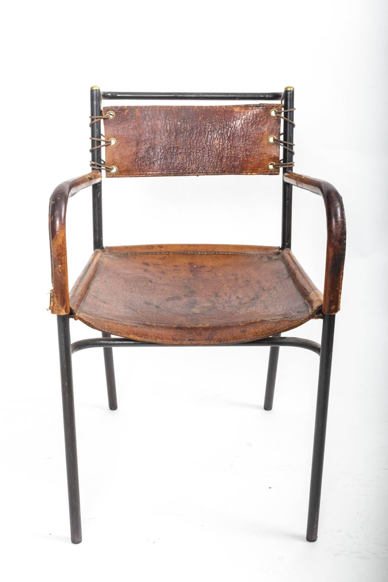 Pair of Leather and Metal Armchairs in the Style of Adnet 9