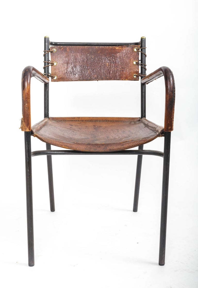 Pair of Leather and Metal Armchairs in the Style of Adnet 10