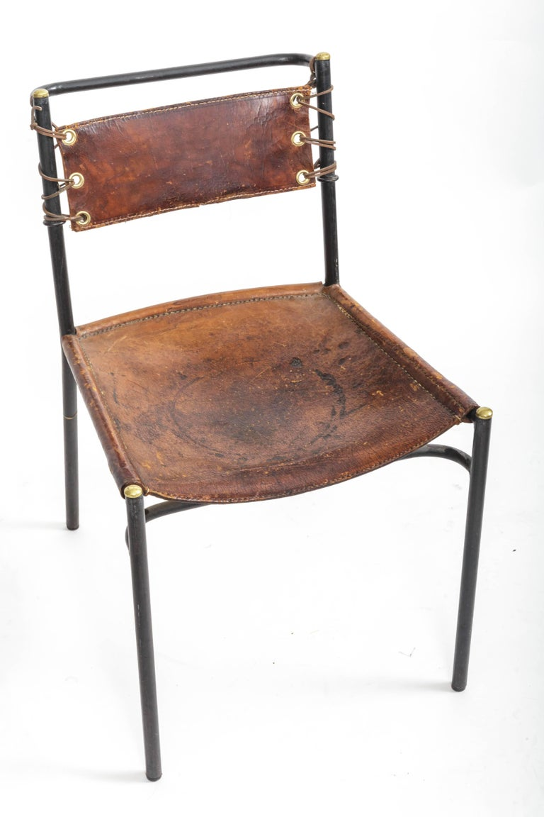 Leather and Metal Side Chair in the style of Adnet  2