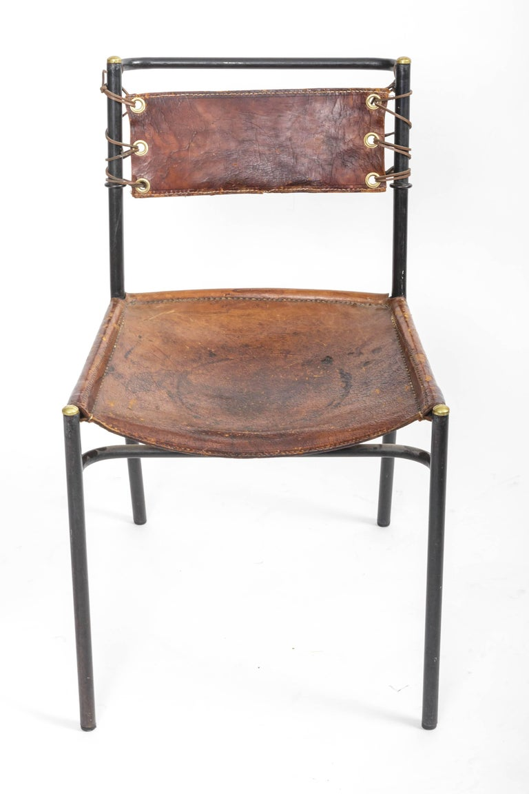 Leather and Metal Side Chair in the style of Adnet  3