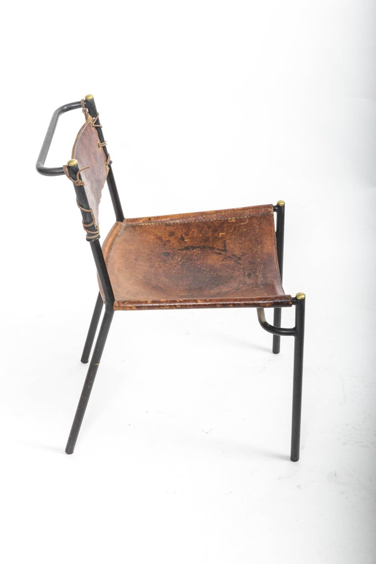 Leather and Metal Side Chair in the style of Adnet  4