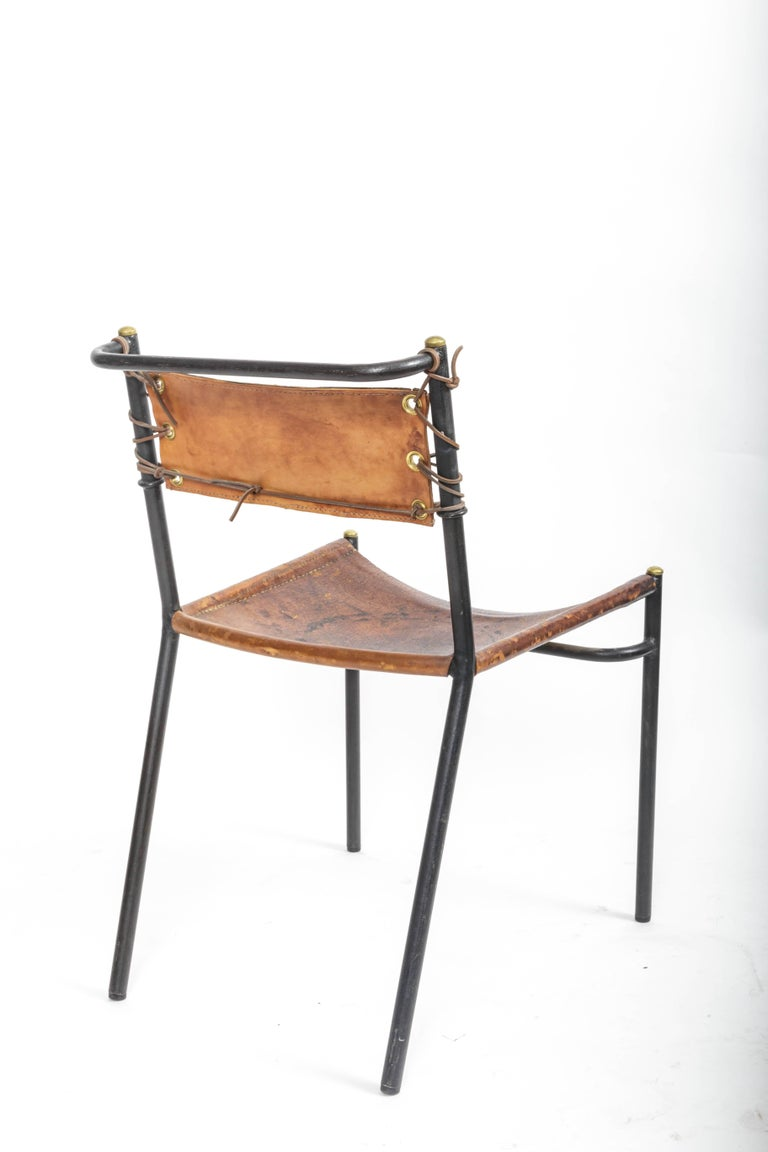 Leather and Metal Side Chair in the style of Adnet  6