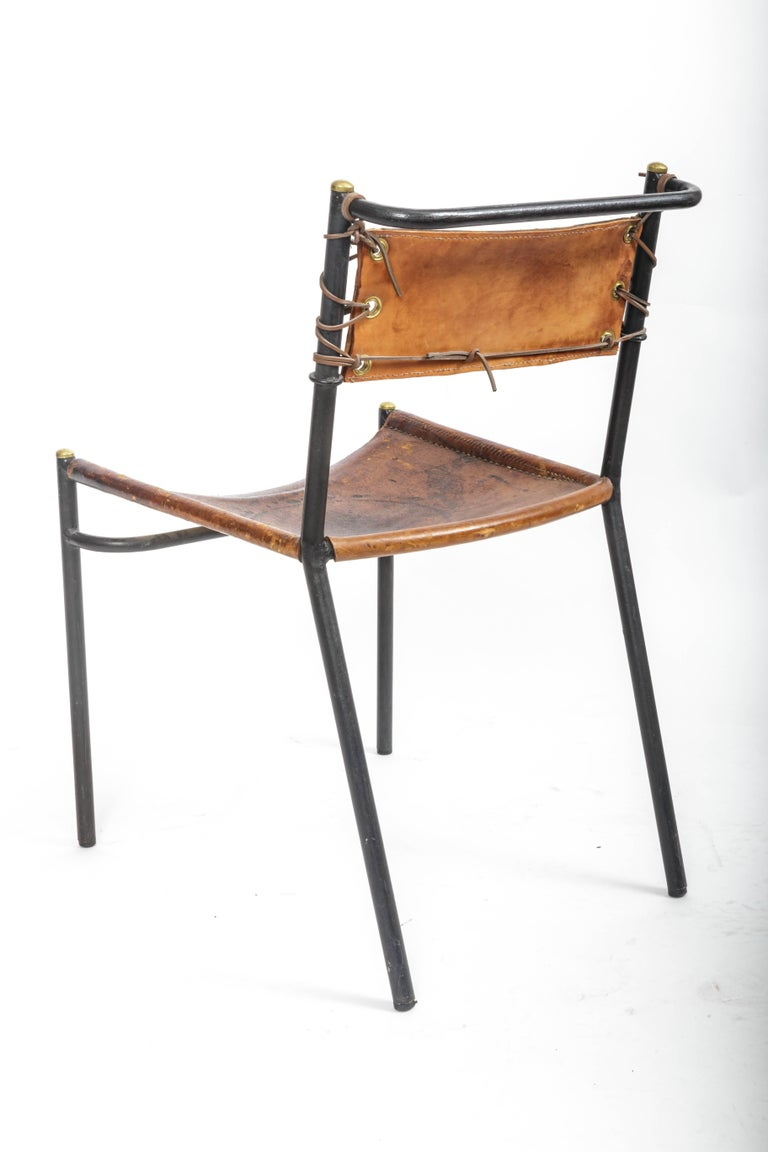 Leather and Metal Side Chair in the style of Adnet  7