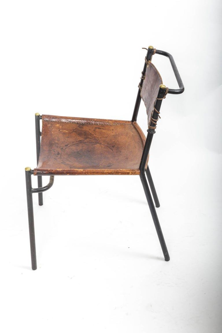 Leather and Metal Side Chair in the style of Adnet  8
