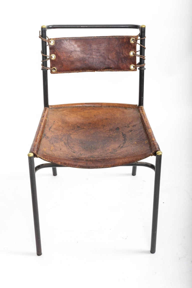 Leather and Metal Side Chair in the style of Adnet  9