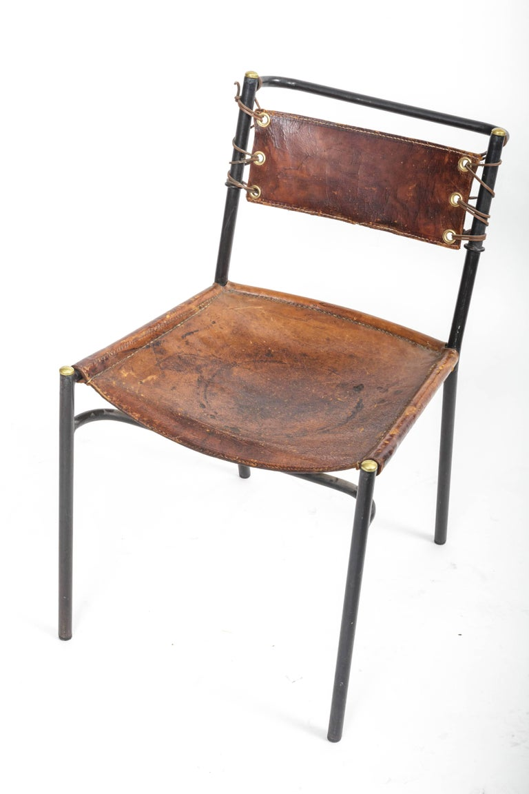Leather and Metal Side Chair in the style of Adnet  10