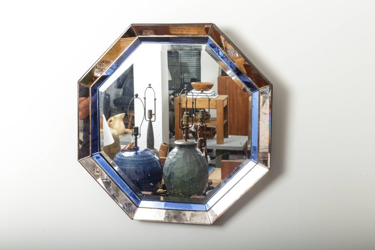 Octagonal Mirror with Blue and Antiqued Silver Frame 7