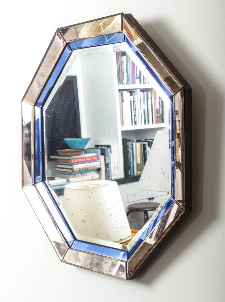 Octagonal Mirror with Blue and Antiqued Silver Frame In Good Condition For Sale In East Hampton, NY