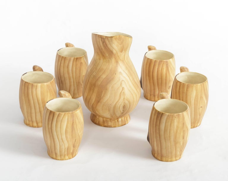 20th Century Set of Faux Bois Ceramic Pitcher and Mugs by Grandjean Jourdan For Sale