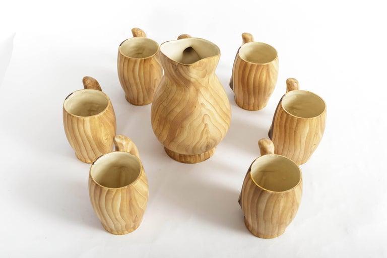 Set of Faux Bois Ceramic Pitcher and Mugs by Grandjean Jourdan For Sale 1