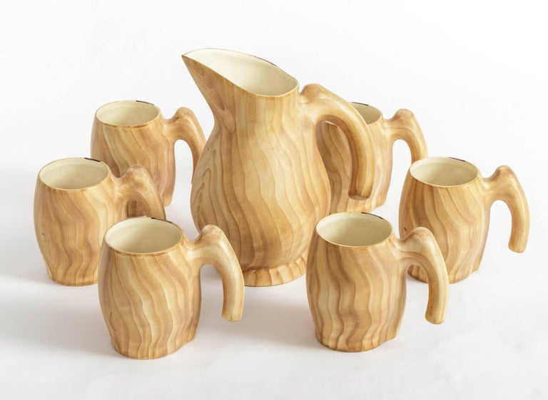 Set of Faux Bois Ceramic Pitcher and Mugs by Grandjean Jourdan For Sale 2