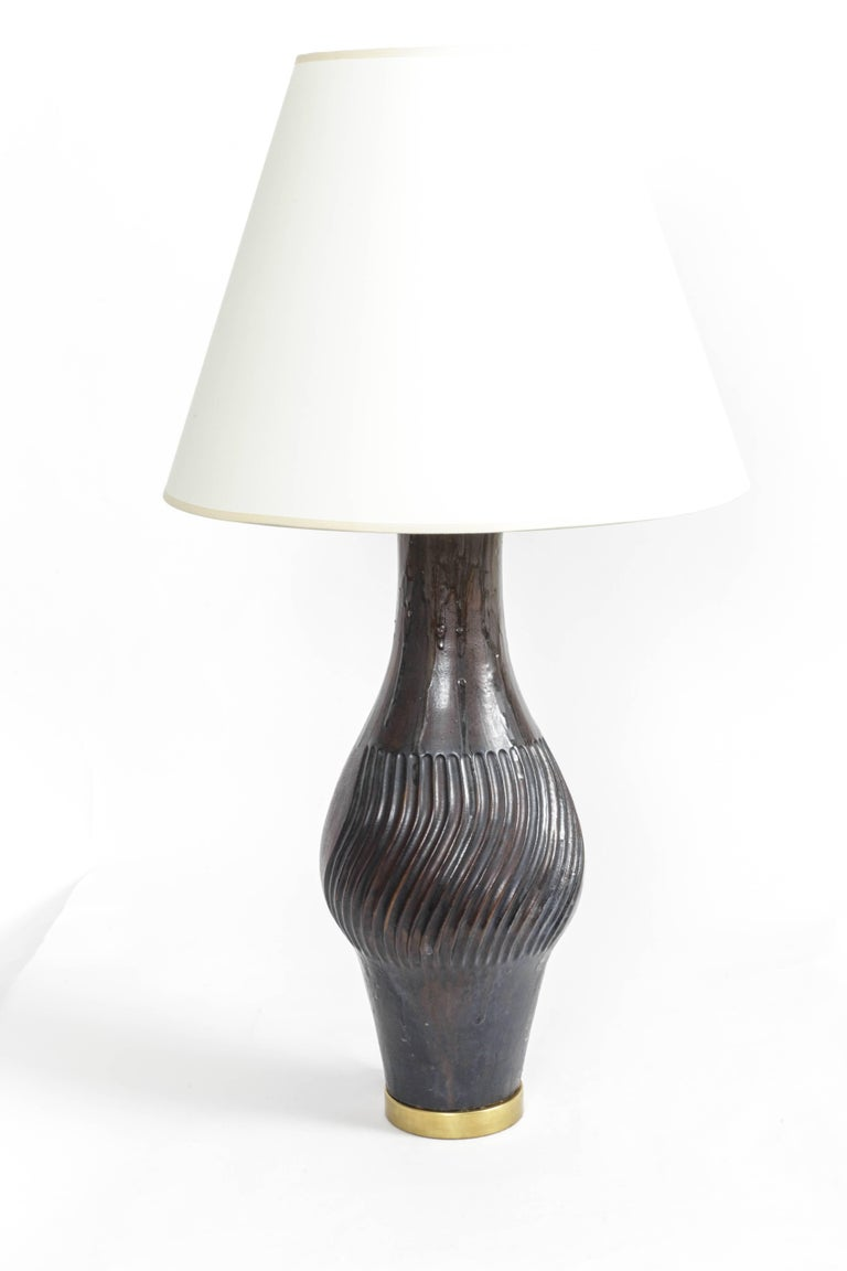 Mid-20th Century Deep Blue Ceramic and Brass Table Lamp by Marcello Fantoni For Sale