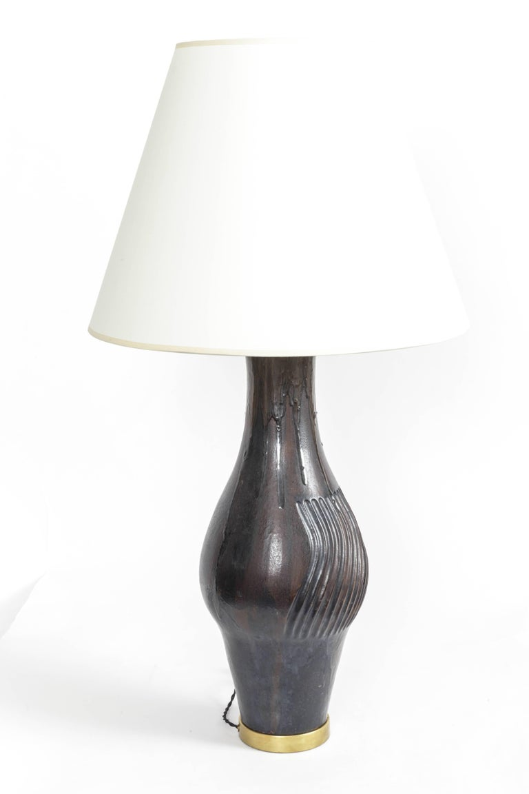 Deep Blue Ceramic and Brass Table Lamp by Marcello Fantoni For Sale 1
