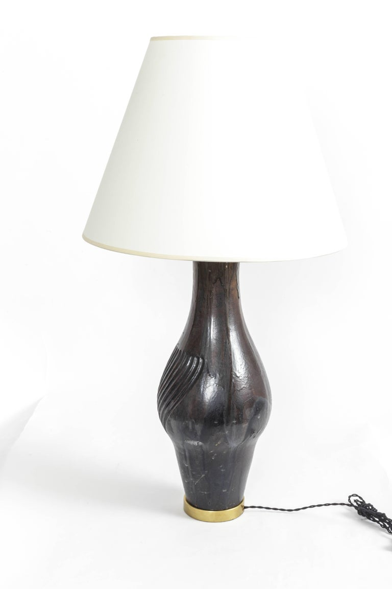 Deep Blue Ceramic and Brass Table Lamp by Marcello Fantoni For Sale 4