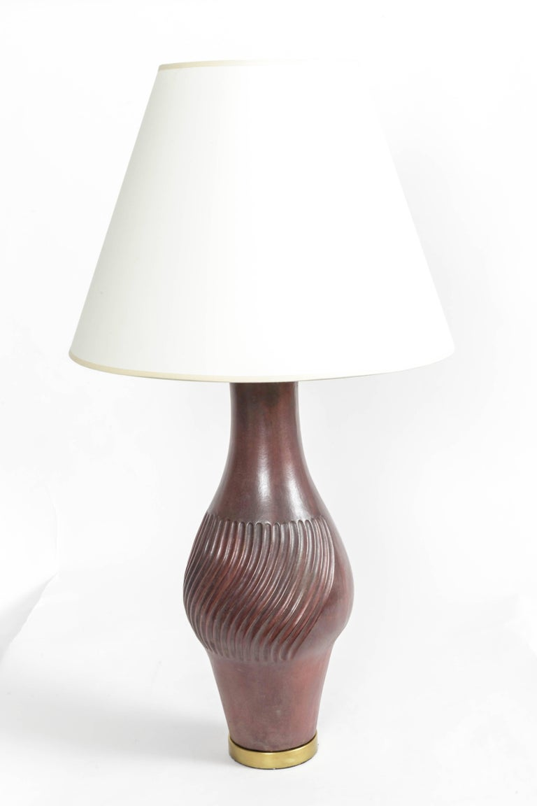 Italian Large Deep Red Ceramic and Brass Table Lamp For Sale