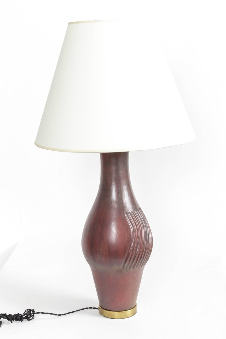 Mid-20th Century Large Deep Red Ceramic and Brass Table Lamp For Sale