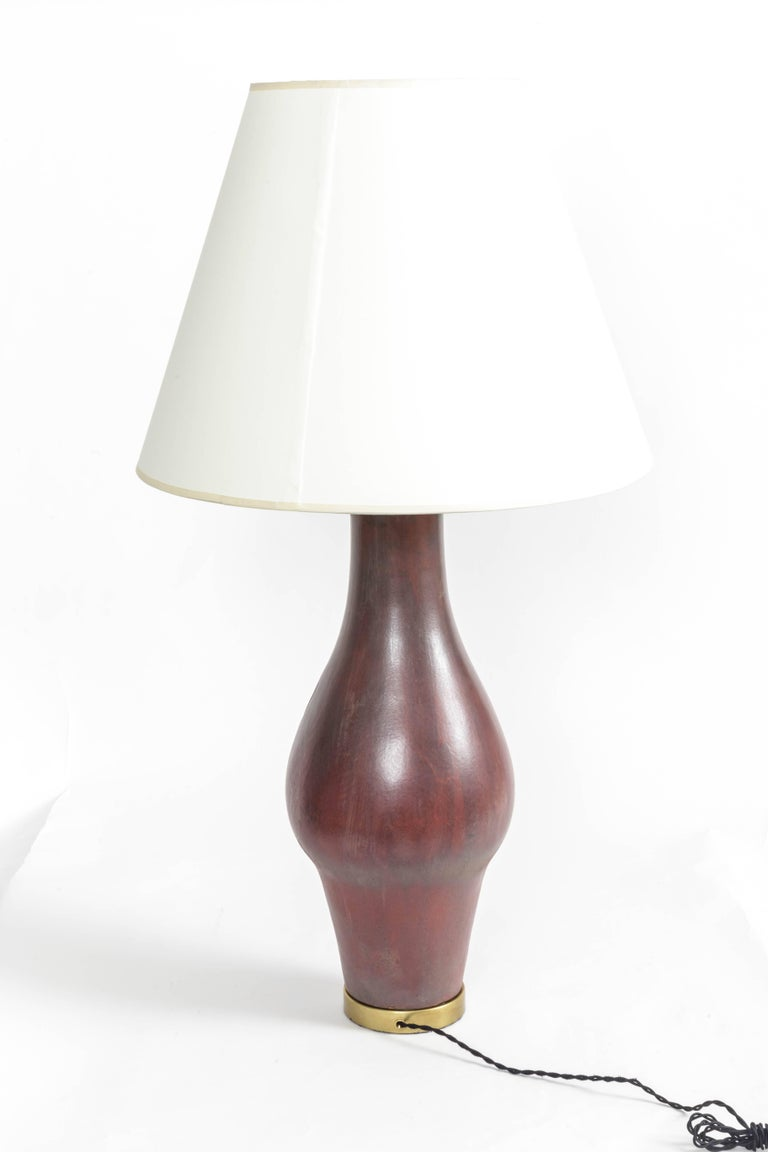 Large Deep Red Ceramic and Brass Table Lamp For Sale 1