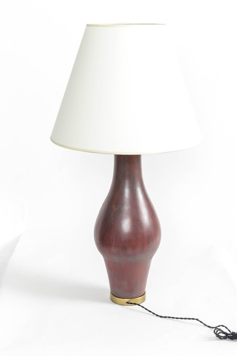 Large Deep Red Ceramic and Brass Table Lamp For Sale 2