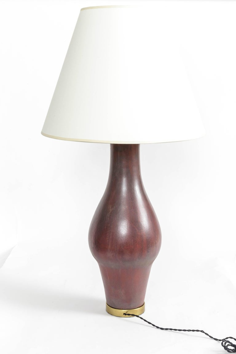 Large Deep Red Ceramic and Brass Table Lamp For Sale 3