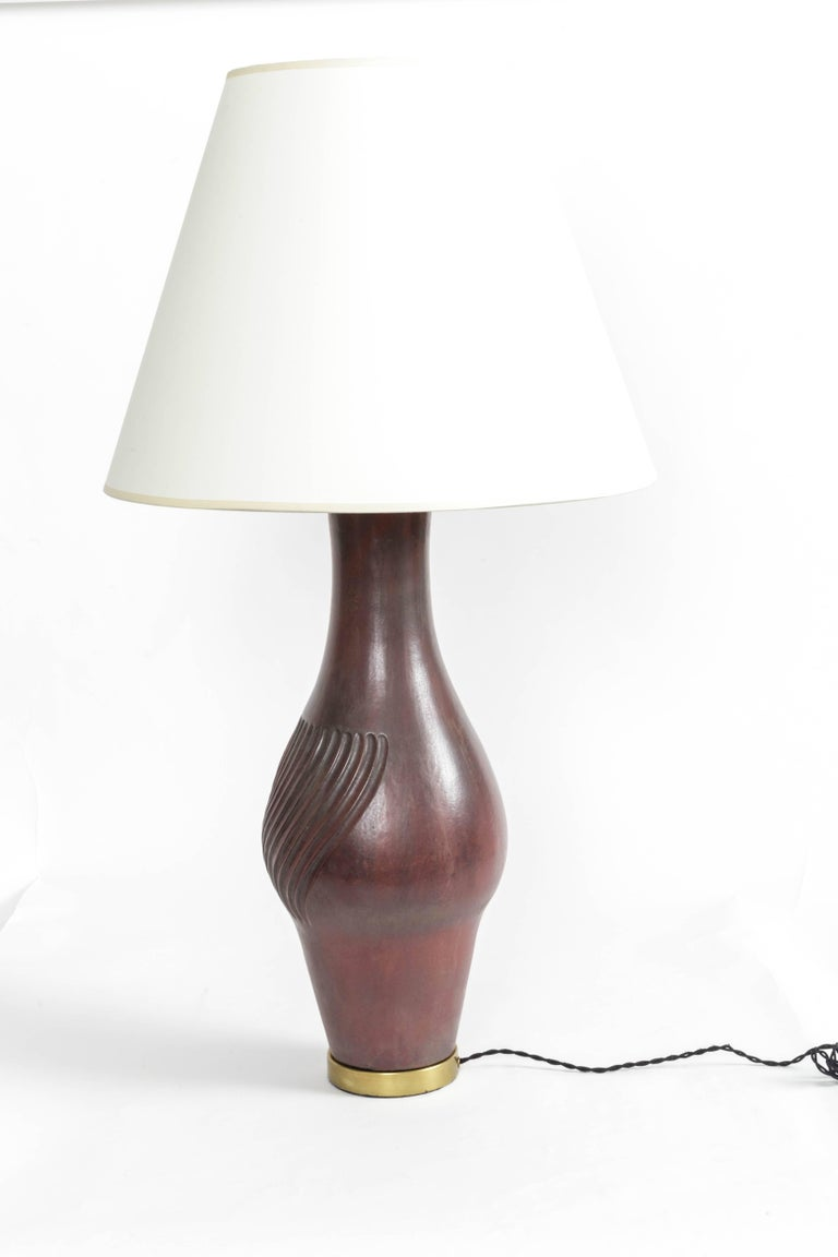 Large Deep Red Ceramic and Brass Table Lamp For Sale 4