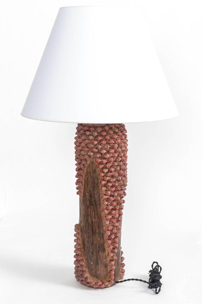 Bronze Textured Red and Brown Ceramic Lamp