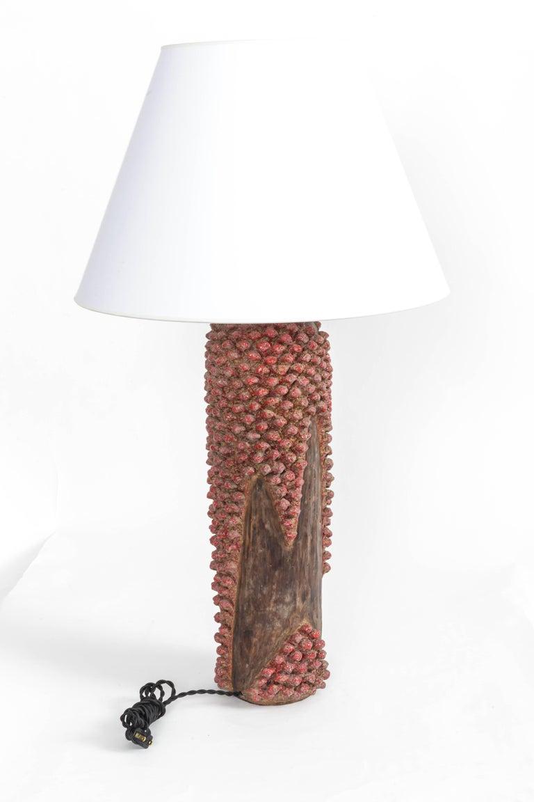 Textured Red and Brown Ceramic Lamp 1