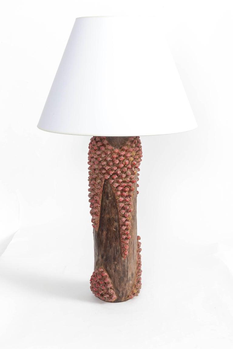 Textured Red and Brown Ceramic Lamp 2