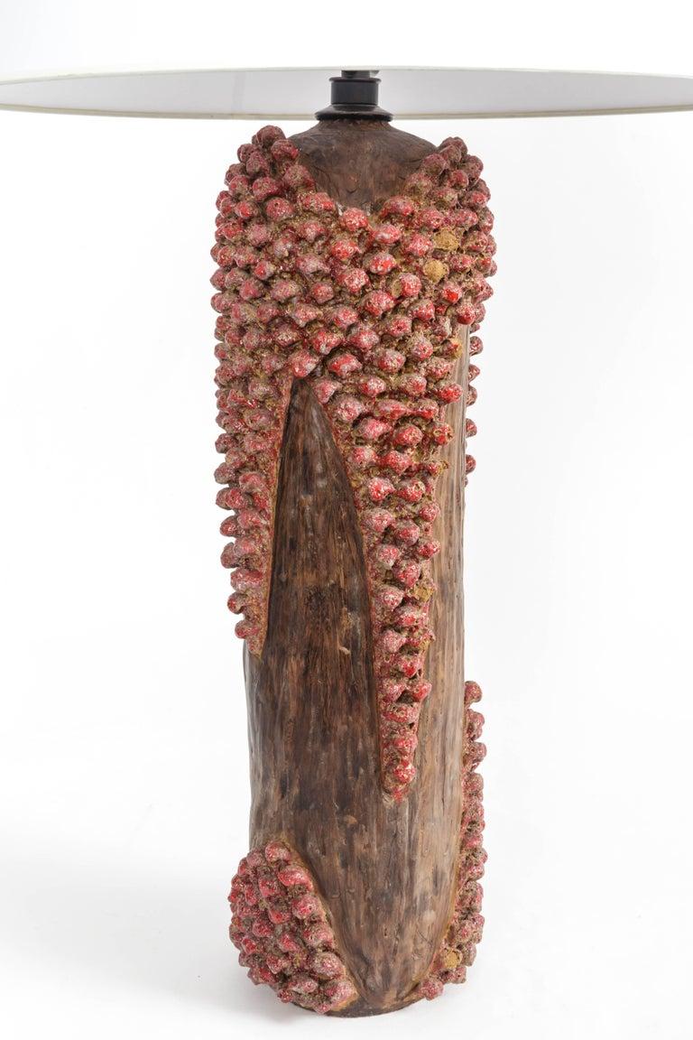 Textured Red and Brown Ceramic Lamp 4