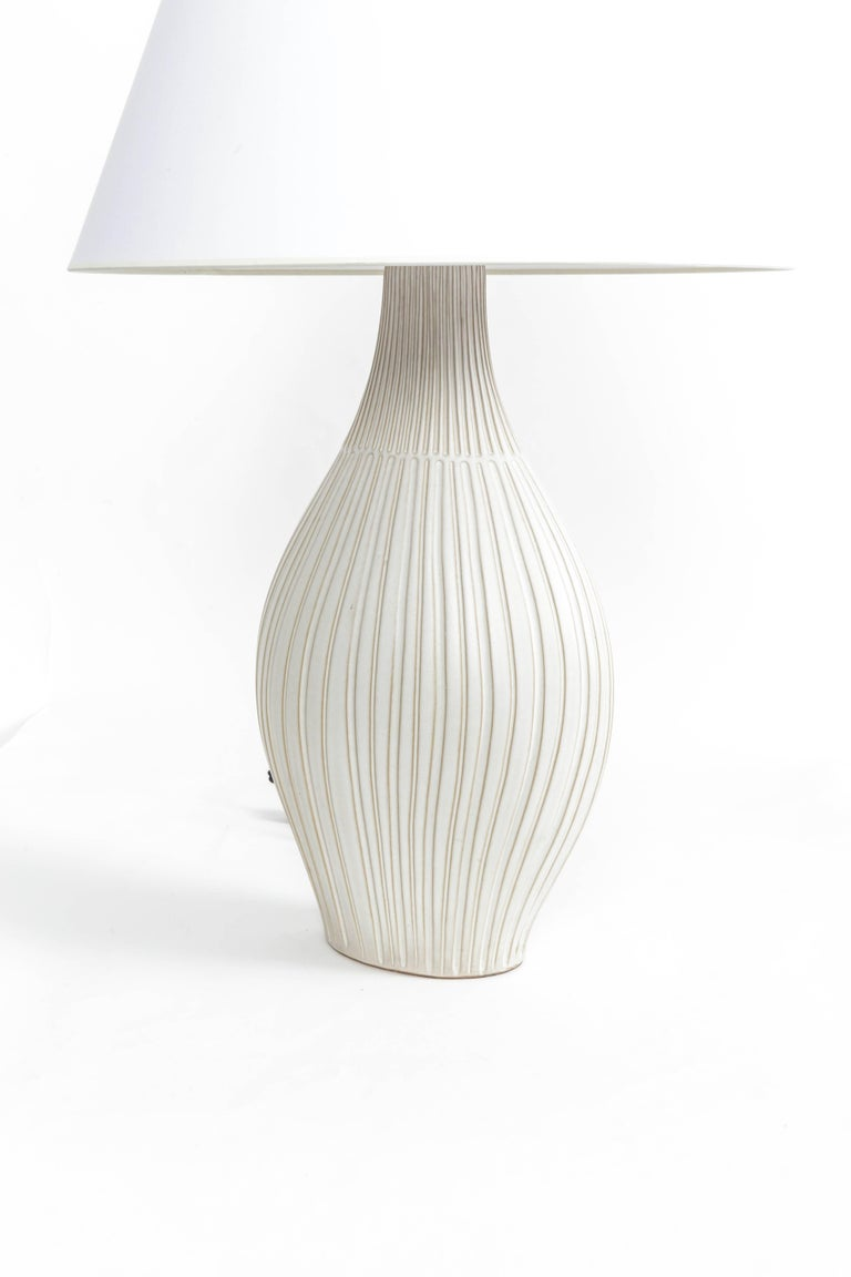 American Fluted Gourd Ceramic Table Lamp For Sale
