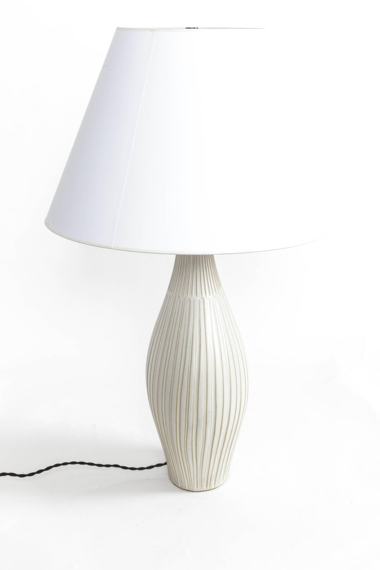Fluted Gourd Ceramic Table Lamp For Sale 4