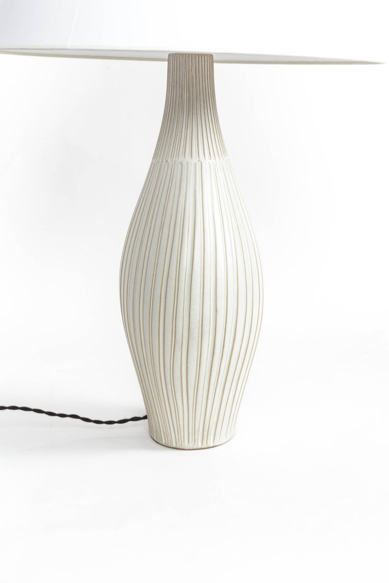 Fluted Gourd Ceramic Table Lamp For Sale 5