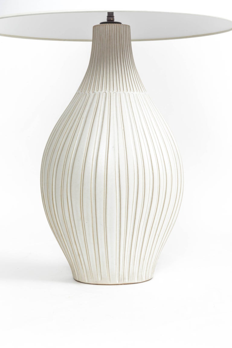 Fluted Gourd Ceramic Table Lamp For Sale 2