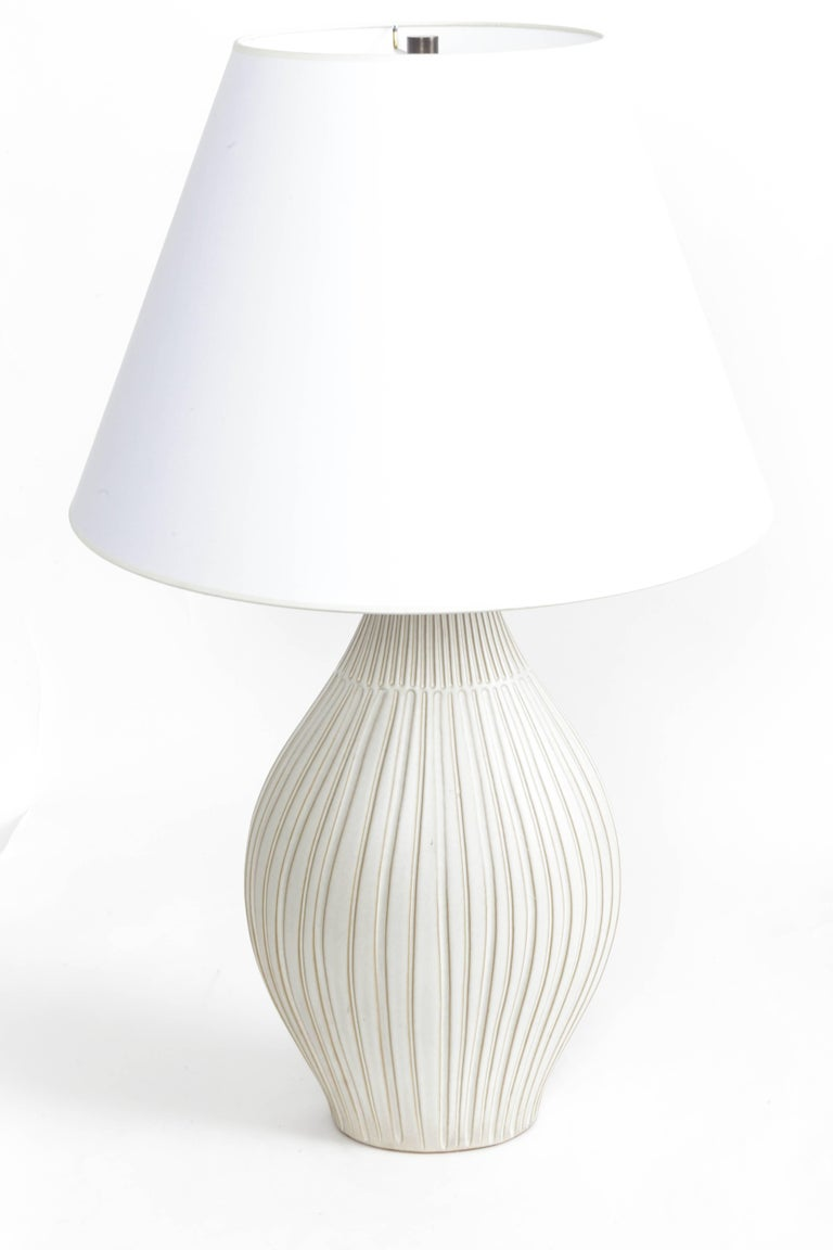 Fluted Gourd Ceramic Table Lamp For Sale 3