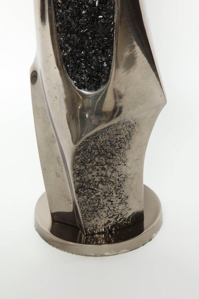 Modern Laurel Black Quartz and Gunmetal Sculptural Lamps For Sale