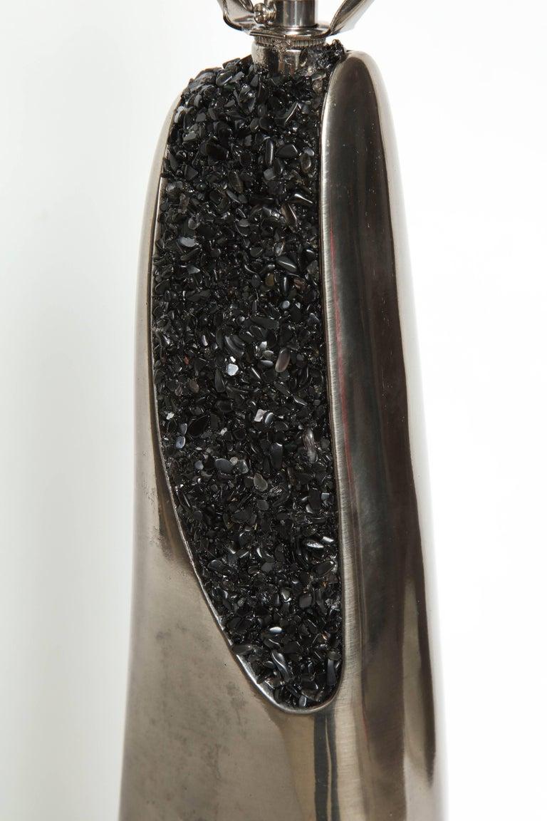 20th Century Laurel Black Quartz and Gunmetal Sculptural Lamps For Sale