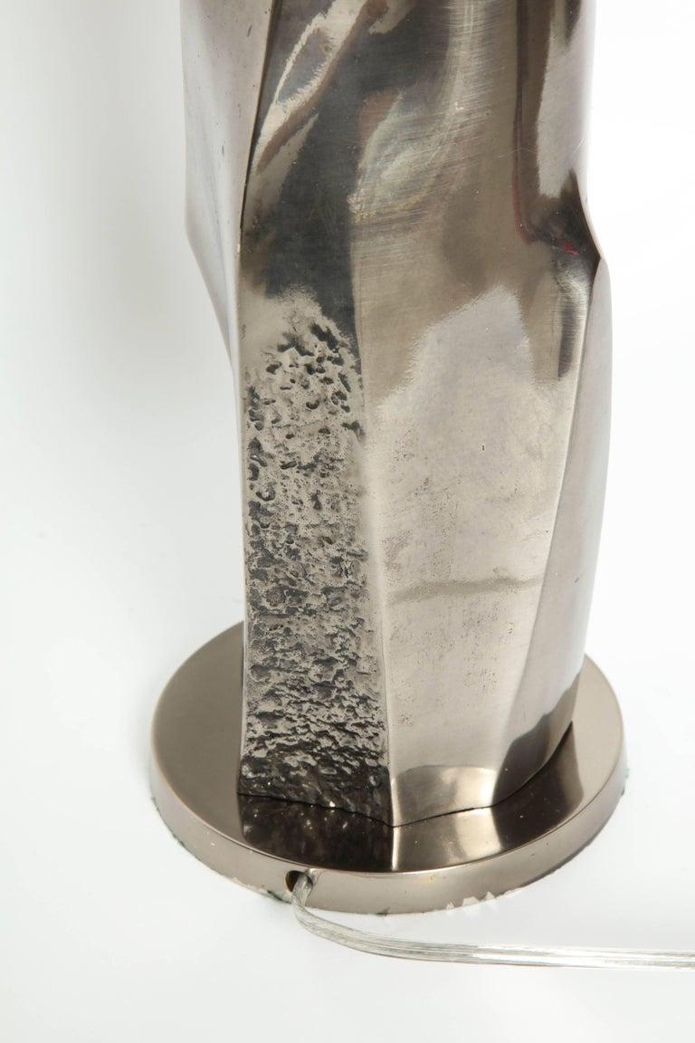 Laurel Black Quartz and Gunmetal Sculptural Lamps For Sale 1