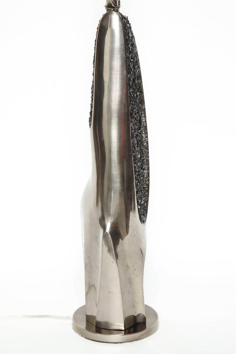 Laurel Black Quartz and Gunmetal Sculptural Lamps For Sale 2